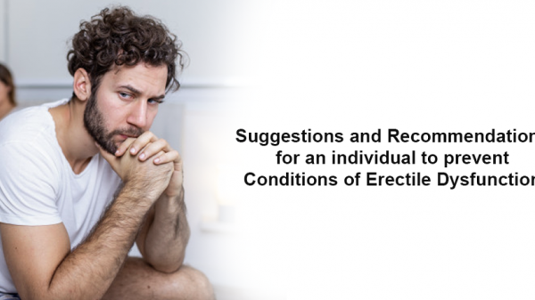 Suggestions and recommendations for an individual to prevent conditions of erectile dysfunction
